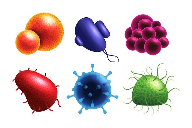 Colección de concepto de virus realista