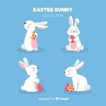 Colección de conejos de pascua dibujado a mano