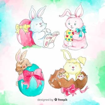 Colección de conejos de pascua dibujados a mano