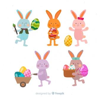 Colección de conejos de pascua en diseño plano