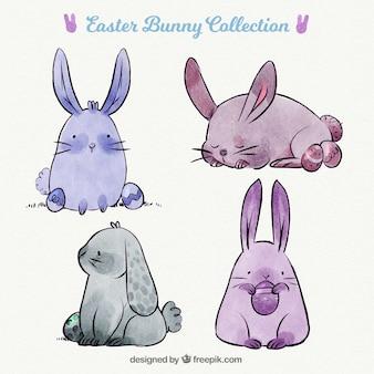 Colección de conejos de pascua lindos en estilo de acuarela