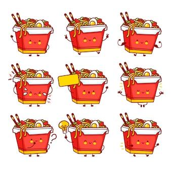 Colección de conjunto de caracteres de caja de fideos wok feliz divertido lindo. icono de ilustración de personaje de kawaii de dibujos animados de línea plana de vector. aislado comida asiática, fideos, concepto de paquete de caracteres de caja de wok