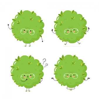 Colección de conjunto de caracteres lindo brote de hierba feliz. aislado en blanco diseño de ilustración de personaje de dibujos animados de vector, estilo plano simple. marihuana cannabis bud caminar, entrenar, pensar, meditar concepto