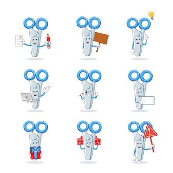 Colección de conjunto de caracteres de mascota de dibujos animados de tijeras