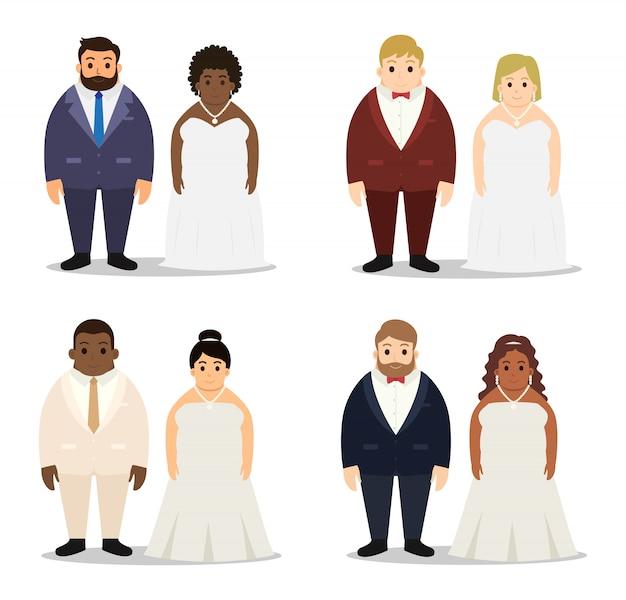 Colección de conjunto de caracteres de pareja gordita de boda