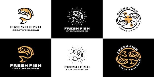 Colección de conjunto creativo de línea retro acuática de pescado fresco para logotipo de empresa
