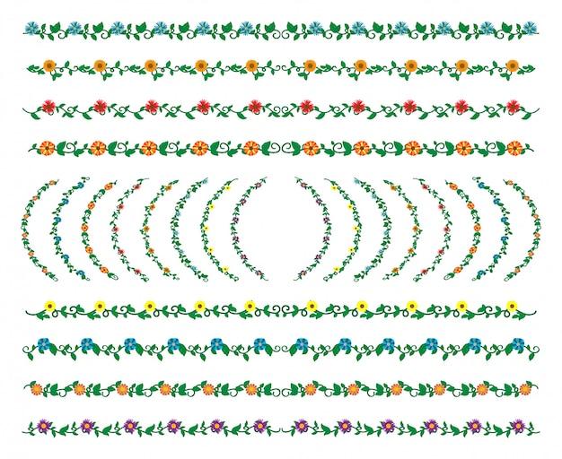 Colección de conjunto de elementos de fronteras dibujadas a mano, vector de ornamento floral remolino