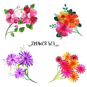 Colección de conjunto de flores de acuarela, bouquet artístico.