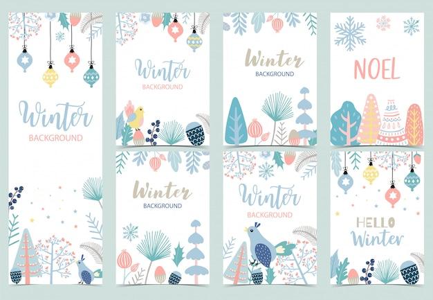 Colección de conjunto de fondo de invierno