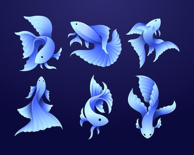 Colección de conjunto de ilustración plana moderna degradado de peces betta