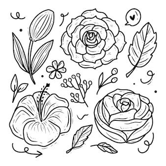 Colección de conjunto de ilustración de vector de flor rosa y ornamento
