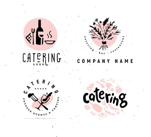 Colección y conjunto de logotipos de empresas de restaurantes.