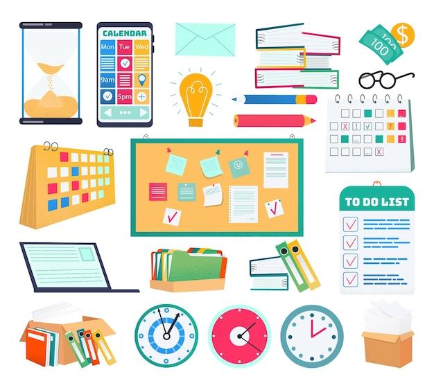 Colección de conjunto de objetos de negocio aislado, ilustración vectorial. diseño de colección con elemento de oficina, lápiz, bolígrafo, documento en papel y computadora. calendario digital, horario, reloj y lámpara.