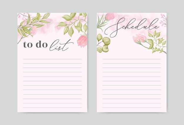 Colección de conjunto de plantillas de lista de tareas con fondo floral acuarela