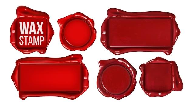 Colección de conjunto de sello de cera roja copia espacio
