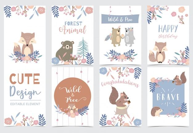 Colección de conjunto de tarjetas de bosque