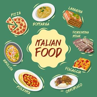 Colección de conjunto de vectores de comida italiana