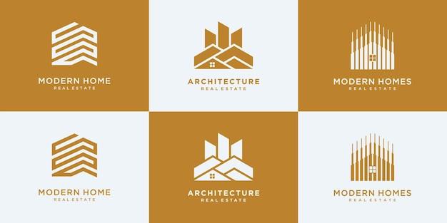 Colección de conjuntos de arquitectura de edificios, plantillas de diseño de logotipos inmobiliarios.