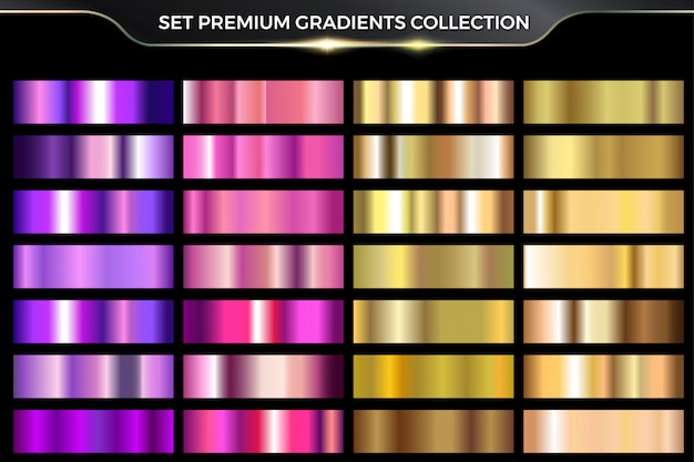 Colección de conjuntos de degradados de oro, oro rosa y púrpura
