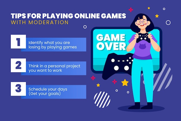 Colección de consejos para jugar juegos en línea con moderación.