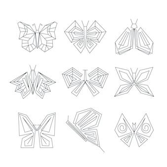 Colección de contornos lineales de mariposa plana