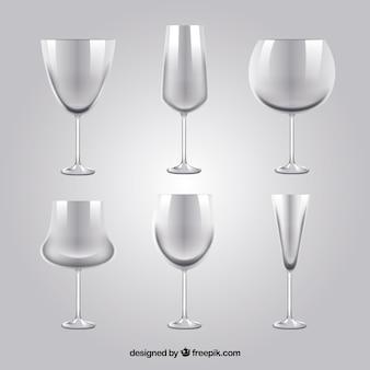 Colección de copas de vino en estilo realista