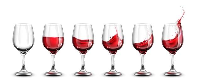Colección de copas de vino realistas.
