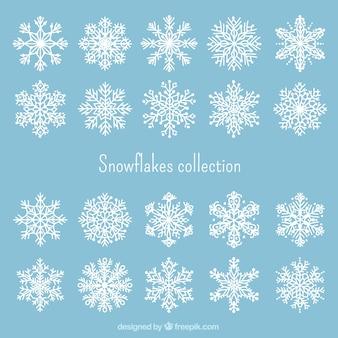 Colección de copos de navidad blancos