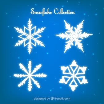 Colección de copos de nieve brillantes