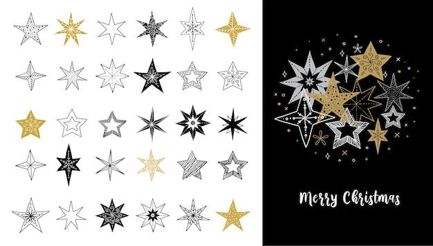 Colección de copos de nieve, estrellas, adornos navideños,