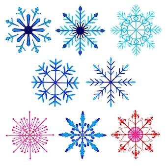 Colección de copos de nieve de navidad acuarela