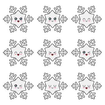 Colección de copos de nieve de navidad aislado en blanco