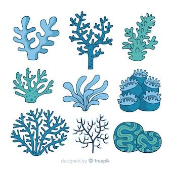 Colección de corales dibujado a mano