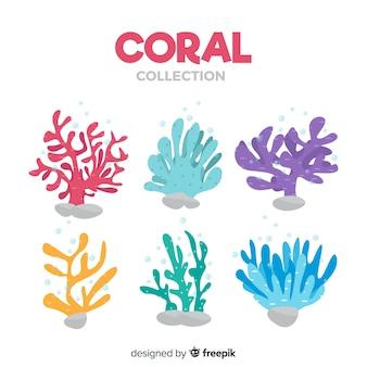Colección de corales en diseño plano
