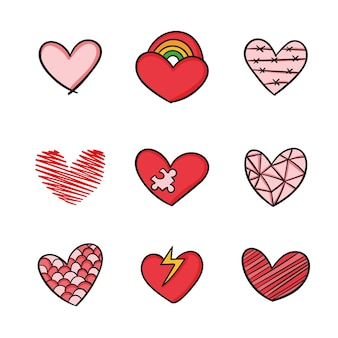 Colección corazón colorido dibujado a mano diseño