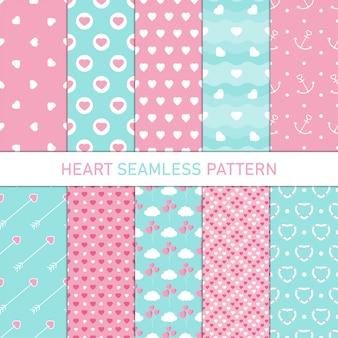 Colección corazón forma de patrones sin fisuras