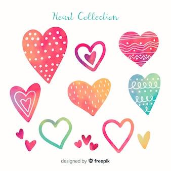 Colección corazones acuarela
