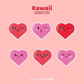 Colección corazones adorables dibujados a mano