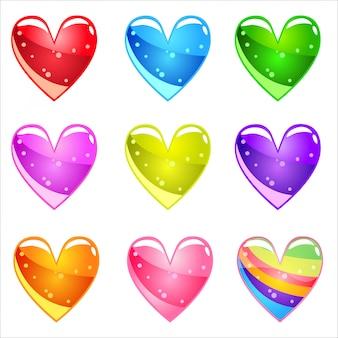 Colección corazones brillantes de dibujos animados lindo con gelatina en diferentes colores.