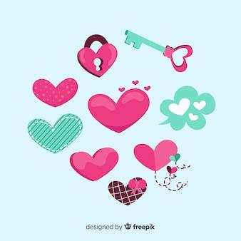 Colección de corazones dibujado a mano
