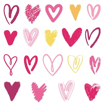 Colección corazones dibujados a mano