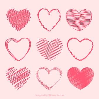 Colección de corazones dibujados