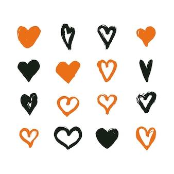 Colección de corazones diseño dibujado a mano