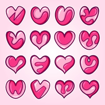 Colección corazones de diseño dibujado a mano
