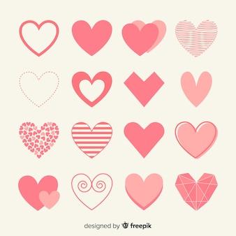 Colección de corazones en diseño plano
