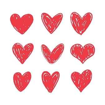 Colección de corazones doodle