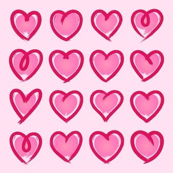 Colección corazones estilo dibujado a mano