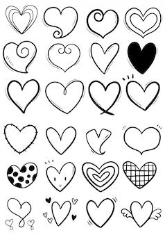 Colección de corazones de garabatos dibujados a mano