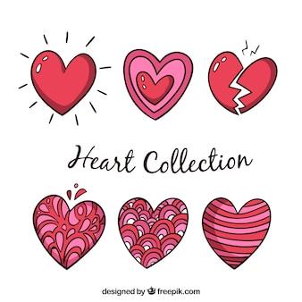 Colección de corazones hechos a mano