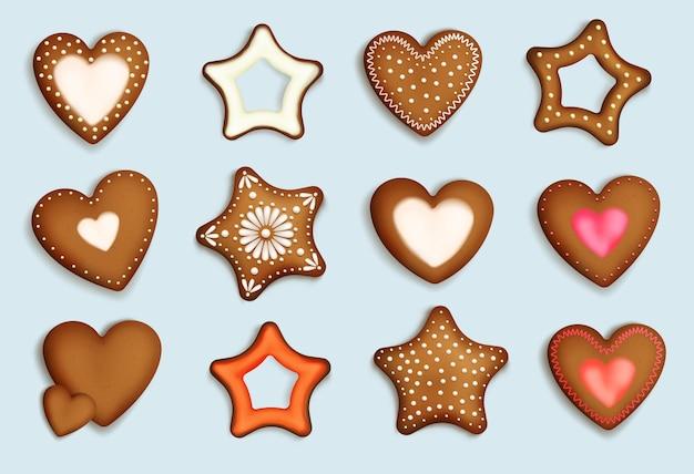 Colección de corazones de pan de jengibre realista